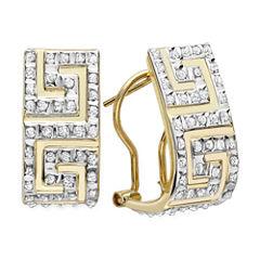 Diamond Fascination™ 14K Yellow Gold Greek Key Hoop Earrings
