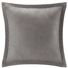 Madison Park Reiss Stud Trim Microsuede Square Feather Pillow