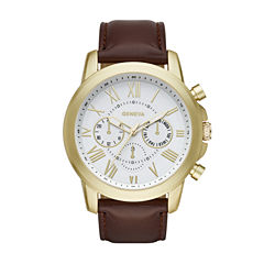 Geneva Mens Brown Strap Watch-Fmdjm570