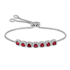 Rhythm and Muse Lab-Created Ruby & White Sapphire Sterling Silver Bracelet
