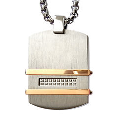 Men's 1/10 CT. T.W. Diamond Two Tone Stainless Steel Dog Tag Pendant Necklace