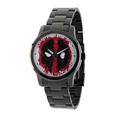 Marvel® Mens Deadpool Black-Tone Stainless Steel Bracelet Watch