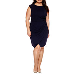 London Times Short Sleeve Sheath Dress-Plus