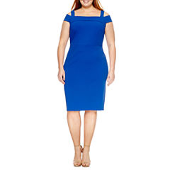 Weslee Rose Short Sleeve Sheath Dress-Plus