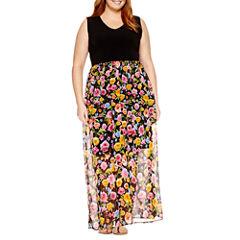 Weslee Rose Sleeveless Floral Maxi Dress-Plus