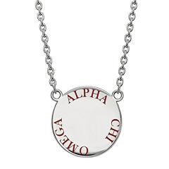 Sterling Silver Enamel Alpha Chi Omega Disc Pendant Necklace