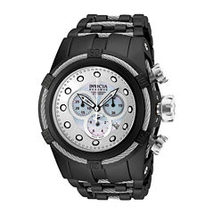 Invicta® Bold Zeus Mens Chronograph Silvertone Dial Black IP Plated Stainless Steel Bracelet Watch