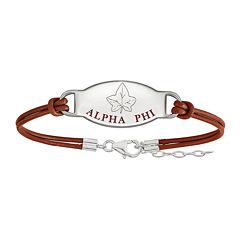 Alpha Phi Sterling Silver Enameled Leather Bracelet