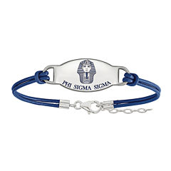 Phi Sigma Sigma Enameled Sterling Silver Oval Leather Bracelet