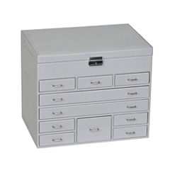 Mele & Co. Jewelry Box in Grey Faux Leather