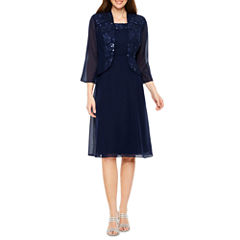 Maya Brooke 3/4 Sleeve Dress Set