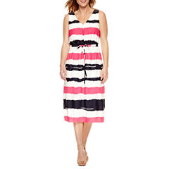 Black Label by Evan-Picone Sleeveless Stripe Fit & Flare Dress