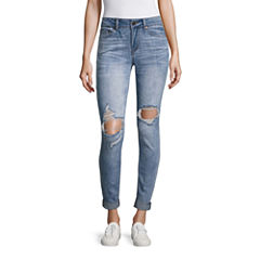 Indigo Rein Skinny Fit Cropped Jeans-Juniors