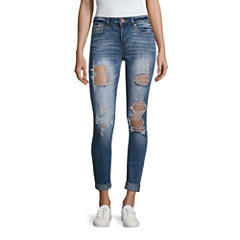 Indigo Rein Destructed Skinny Fit Jeans-Juniors