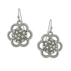 1928® Jewelry Silver-Tone Crystal Flower Drop Earrings
