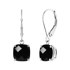 Genuine Black Onyx Sterling Silver Dangle Earrings