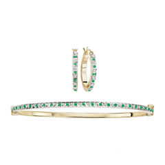 2-pc. Genuine Emerald & Diamond Accent Gold Over Silver Earring & Bangle Set