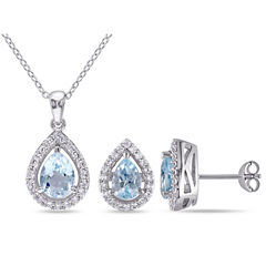 Genuine Blue Topaz & Lab-Created White Sapphire Sterling Silver Earrings & Pendant 2-Piece Set