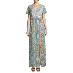 Love Reigns Short Sleeve Pattern Maxi Dress-Juniors
