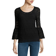 a.n.a. Lace Bell Sleeve Top