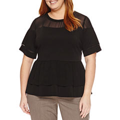 Worthington Elbow Sleeve Peplum Top Plus