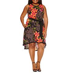Worthington Sleeveless Floral Fit & Flare Dress-Plus