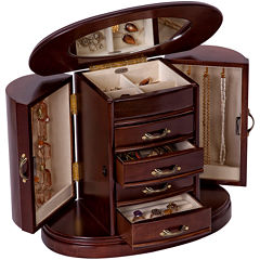 Mele & Co. Heloise Walnut-Finish Wooden Jewelry Box