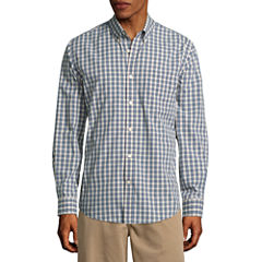 St. John's Bay Long Sleeve Grid Button-Front Shirt