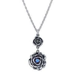 1928® Jewelry Silver-Tone Blue Crystal Flower Pendant Drop Necklace