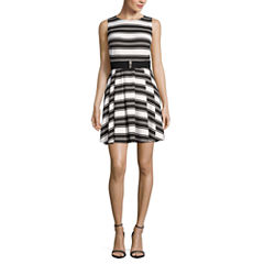 Danny & Nicole Sleeveless Stripe Fit & Flare Dress-Petites