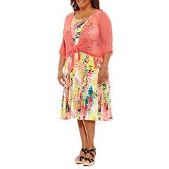 Lark Lane Braziliant Sleeveless Sheath Dress or 3/4 Sleeve Tie Front Shrug-Plus