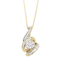 diamond blossom 1/4 CT. T.W. Diamond 10K Yellow Gold Pendant