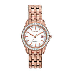 Citizen® Eco-Drive® Womens Rose-Tone Crystal-Accent Watch EW1903-52A
