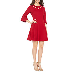 Danny & Nicole 3/4 Bell Sleeve Fit & Flare Dress