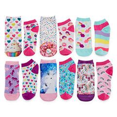 Total Girl Girls 6 Pair No Show Socks-Big Kid