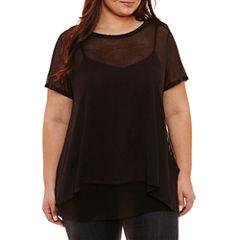Boutique + Short Sleeve Sheer Stripe T-Shirt-Plus