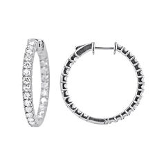 LIMITED QUANTITIES 2 CT. T.W. Diamond 14K White Gold Hoop Earrings