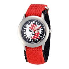 Disney Minnie Mouse Kids Time Teacher Red Nylon Fast Strap Watch