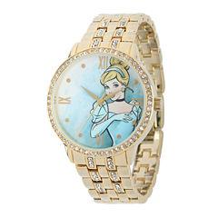 Disney Cinderella Womens Crystal-Accent Gold-Tone Bracelet Watch