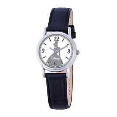 Disney Cinderella Womens Black Leather Strap Watch