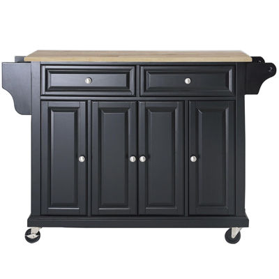 Lovely Wellman Natural Wood Top Kitchen Island