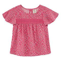 Arizona Round Neck Short Sleeve Blouse - Toddler Girls