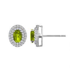 Oval Green Peridot Sterling Silver Stud Earrings