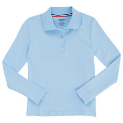French Toast Long Sleeve Interlock Polo with Picot Collar - Big Kid Girls