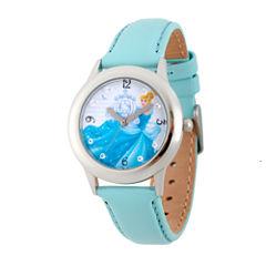 Disney Princess Girls Blue and Silvertone Cinderella Time Teacher Strap Watch W002937
