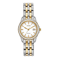 Citizen® Eco-Drive® Womens Two-Tone Crystal-Accent Watch EW1908-59A