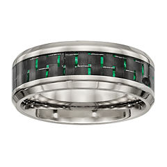 Personalized Mens 8mm Titanium Black & Green Carbon Fiber Inlay Wedding Band