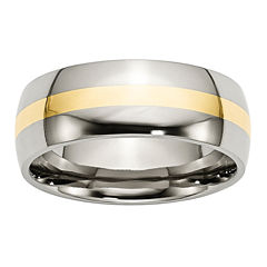 Personalized Mens 8mm Stainless Steel 14K Yellow Gold Inlay Wedding Band