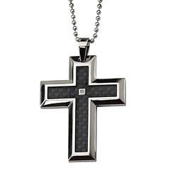 Mens Diamond Accent Stainless Steel Cross Pendant