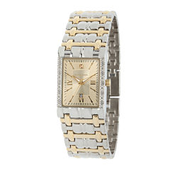 Personalized Dial Mens Diamond-Accent Square Two-Tone Watch